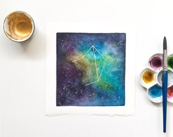 Libra Constellation Watercolor Original