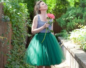 Tulle skirt, emerald green tulle skirt, bridesmaid skirt