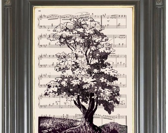 COUPON SALE Catalpa tree print on dictionary or music page Dictionary art print wall decor Digital art print Garden decor  Item No 820