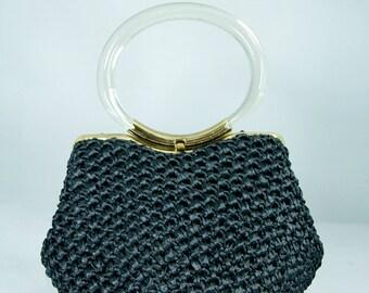 Saks Fifth Avenue 60's Purse Vintage Lucite Bangle Handles // Vintage bags by TatiTati Style on Etsy