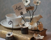 5/Flower Place Card Holders/Rustic Wedding/Baby Shower/Bridal Shower/Woodsy