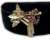 Hobe Christmas Bell Brooch with Rhinestones and Dangling Fringe!