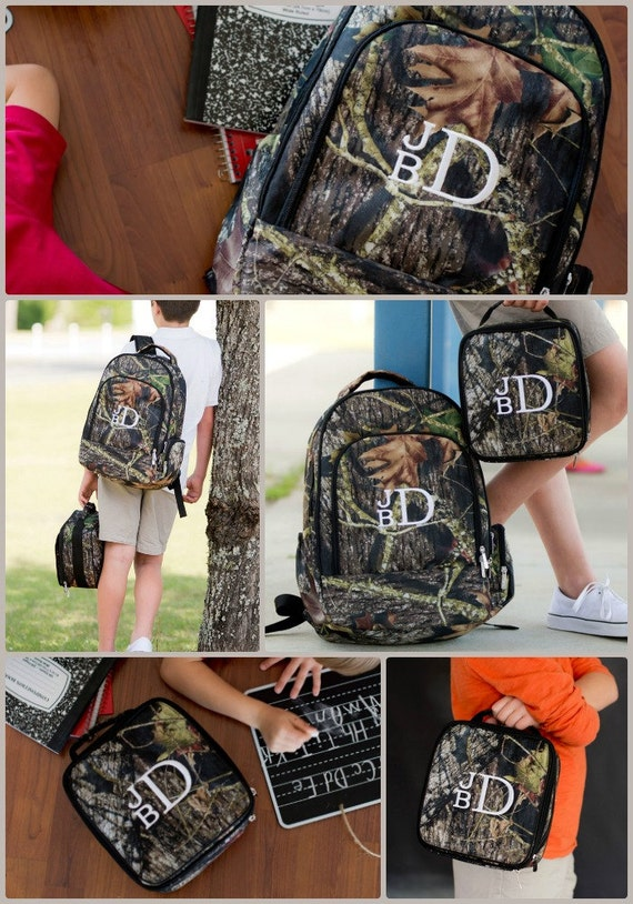Boys Monogrammed Camouflage Backpack and Lunchbox