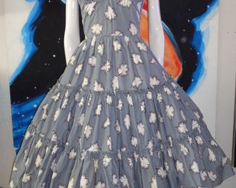 1950's EMIL California Atomic Novelty Print Halter Dress Falling Leaves Full Skirt  28 Waist Sundress Rockabilly VlV