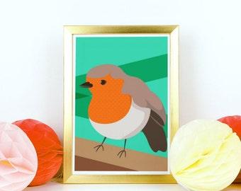 Robin Bird Illustration Giclée Print Wall Art Retro Style