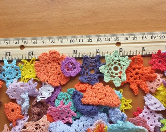 40 Mini Hand Dyed Crochet Doilies, Mixed Colors and Sizes of Mini Crochet Flowers, Tiny Doily Embellishments