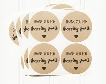"""Kraft Round Circle """"Thank You for Shopping Small"""" Sticker Labels – Etsy Seller Packaging, Small Business, Shop Small, Thank You Stickers"""