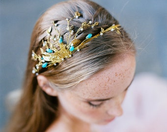 Golden headpiece for a rustic bride, headband in gold with turquise beads and diamonites, woodland wedding bridal hair accessory