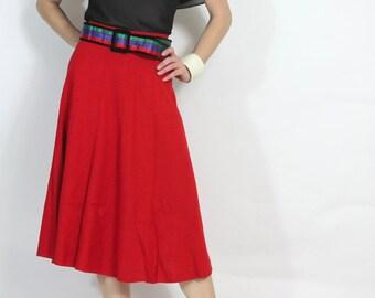 Vintage 70s Skirt True Red Knit Midi Skirt xs s