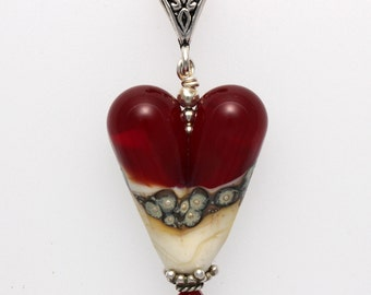 Handcrafted Lampwork Silvered Ivory & Ruby Red Heart Pendant