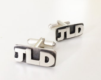 Initial Cufflinks - personalized cufflinks groomsman best man gift wedding jewelry