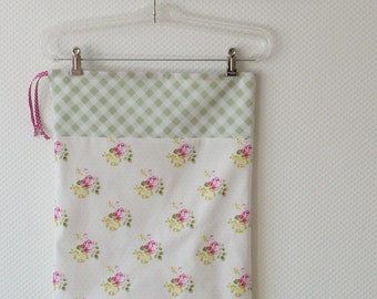 Shabby Chic Laundry Bag. Retro Yellow Pink Green Floral drawstring bag. Roses  Gingham. europeanstreetteam