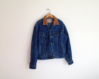 Vintage rare 1960s lee storm riders blanket lined Denim Jacket with corduroy collar size 46 L