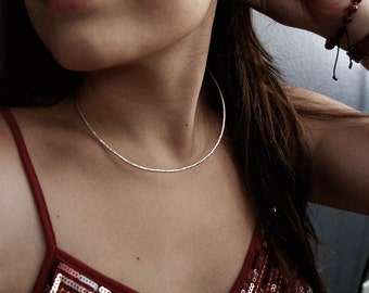 Silver Choker Neck Ring - Round Sterling Silver Adjustable Necklace Cuff