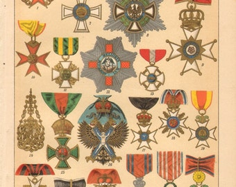 1894 The Most Important Orders, Orders of Merit, Orders of Chivalry Original Antique Chromolithograph