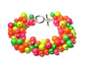 Neon Pearl Bracelet, Swarovski Pearl Cluster Silver Charm Bracelet, Pink Orange Yellow Green Red, Bright Summer Jewelry, Mother's Day Gift