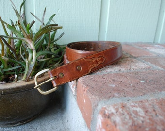 Vintage Size 32 Thick Leegin Classic Quality Leather Belt Belts Southwestern Country Western Cognac Brown Spring Fashion Hipster Boho Moto