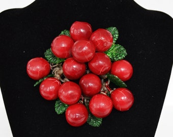 Vintage Large Brooch of Red Cherries and Green Leaves