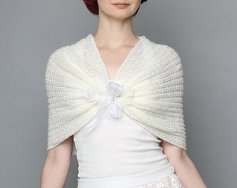 Ivory Bridal shawl, Off White shawl, Knit Ivory shoulder wrap, knit lace capelet, handknit Bridal shoulder wrap