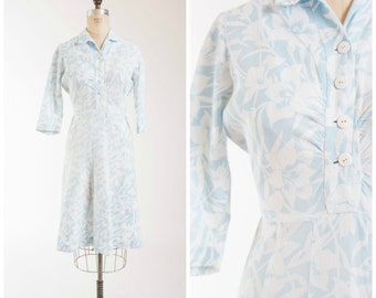 Vintage 40s Dress • Living Beautifully • Blue White Floral Cotton Pique Early 1940s Day Dress Size Large