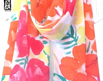 Silk Scarf Handpainted, ETSY, Gift for her, Large Silk Scarf, Red and Orange Hibiscus Scarf, Pink, Red, Orange, Takuyo, 14x72 inches