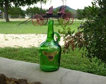 Old Green Wine Bottle 1.5 Liters, Home Bottled Spanish Grape Wine, Large Old Green Glass Wine Jug *Empty*