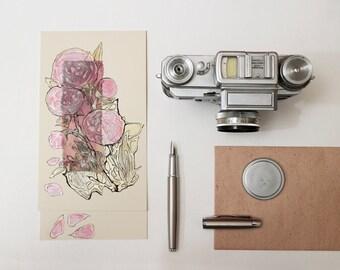 Pale pink peonies  - pastel rose peony -  blank greeting card for any event - art - peony painting - floral artwork - tender flowers - OOAK