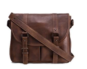 Burnt brown genuine leather messenger bag with double buckle flap / brown leather bag / brown messenger bag