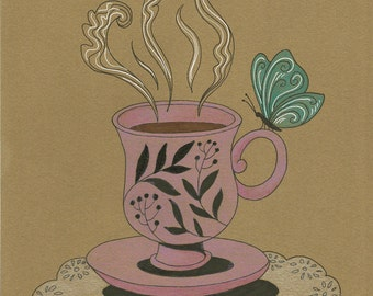 A Warm Cuppa, Pen and Pencil Color Drawing on Paper, Sweet Illustration for Home Decor