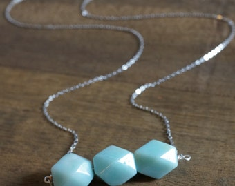 Amazonite Geometric Bead Necklace - Silver Chain - Three Bead Necklace - Minimalist Necklace - Amazonite Necklace
