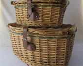 Nesting Storage Tote Baskets, Two Vintage Reed and Wood Hampers, Decorative Craft Container, Beach Cottage Decor