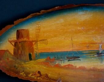 vintage oil painting on large wood slice