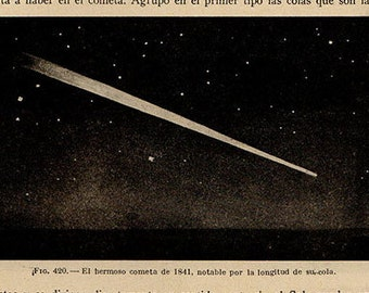 1912 Comet 1841, Original Vintage Space Astronomy Print