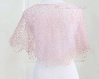Blush pink capelet hand knit cover up lace bridal wrap wedding shrug mohair silk poncho