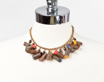 Vintage 1940s Brass and Wood Novelty Necklace