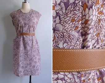 Vintage 70's 'My Secret Garden' Orange & Purple House Dress M or L