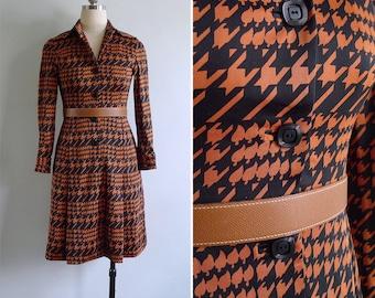 Vintage 70's 'Halloween Houndstooth' Geometric Print Shirt Dress XXS or XS