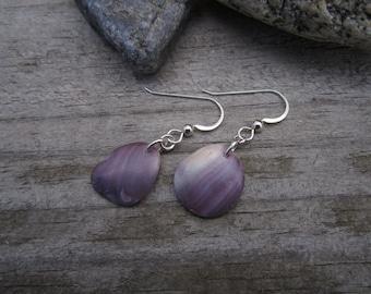 Wampum Earrings - Beach Combed Purple Quahog Shell 3 - Hand Polished Suckáuhock