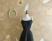 Vintage 1950s Black Cotton Floral Dress -Summer Nocturn-