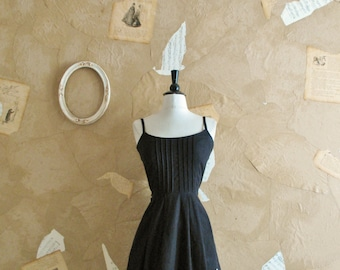 Vintage 1950s Black Cotton Floral Dress -Summer Nocturn-