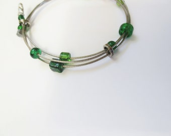 Upcycled Bicycle Cable Wrap Bracelet with Green Glass Beads , Reclaimed Wire Bracelet