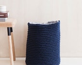 dark blue storage bin, hand knitted - lambswool knit, woven lining in gray
