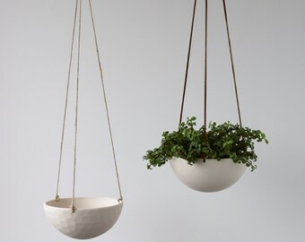 On Sale, Hanging Ceramic Porcelain Planter Medium Size, Geometric Faceted or Smooth finish, choose Hemp or Leather Cording