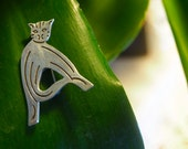 RESERVED FOR trollhunterkat! Sterling Silver Cat Brooch Letter 'A' Cat Lover Jewelry large 925 Initial Gift Mexican
