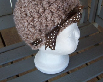 Hat,Baby,Infants,Gift,Photo Prop,Shower,Tan,Brown,Chocolate Ribbon,Polka Dots,Babies,Girls,Infants,Girl,Crocheted