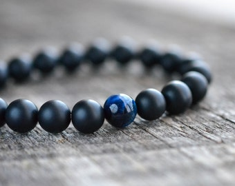Blue Tiger Eye Onyx Bracelet • Gemstone Bracelet • Black Beaded Bracelet • Womens / Mens Bracelet • Stretch Bracelet • Jewelry • Gifts