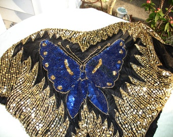Vintage Sequins Top on Silk Butterfly Blouse - Made in India