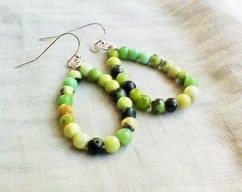 Beaded Earrings Gemstone Hoop Earrings Jewelry Green Earrings Women