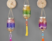 Colorful Boho Chic Wall Decor, 3 Hanging Ombre Moroccan Lanterns with Luxe Handmade Tassels, Natural Wood Plaques With Display Hooks