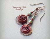 Glass Spiral Earrings, Reddish Brown Lampwork, Hammered Copper Disks, Turquoise Glass Beads, Artisan Copper Jewelry